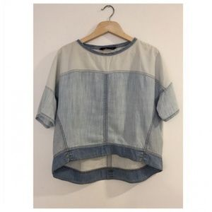 Zara Tops - Zara XS Short Sleeve Patchwork Chambray Shirt